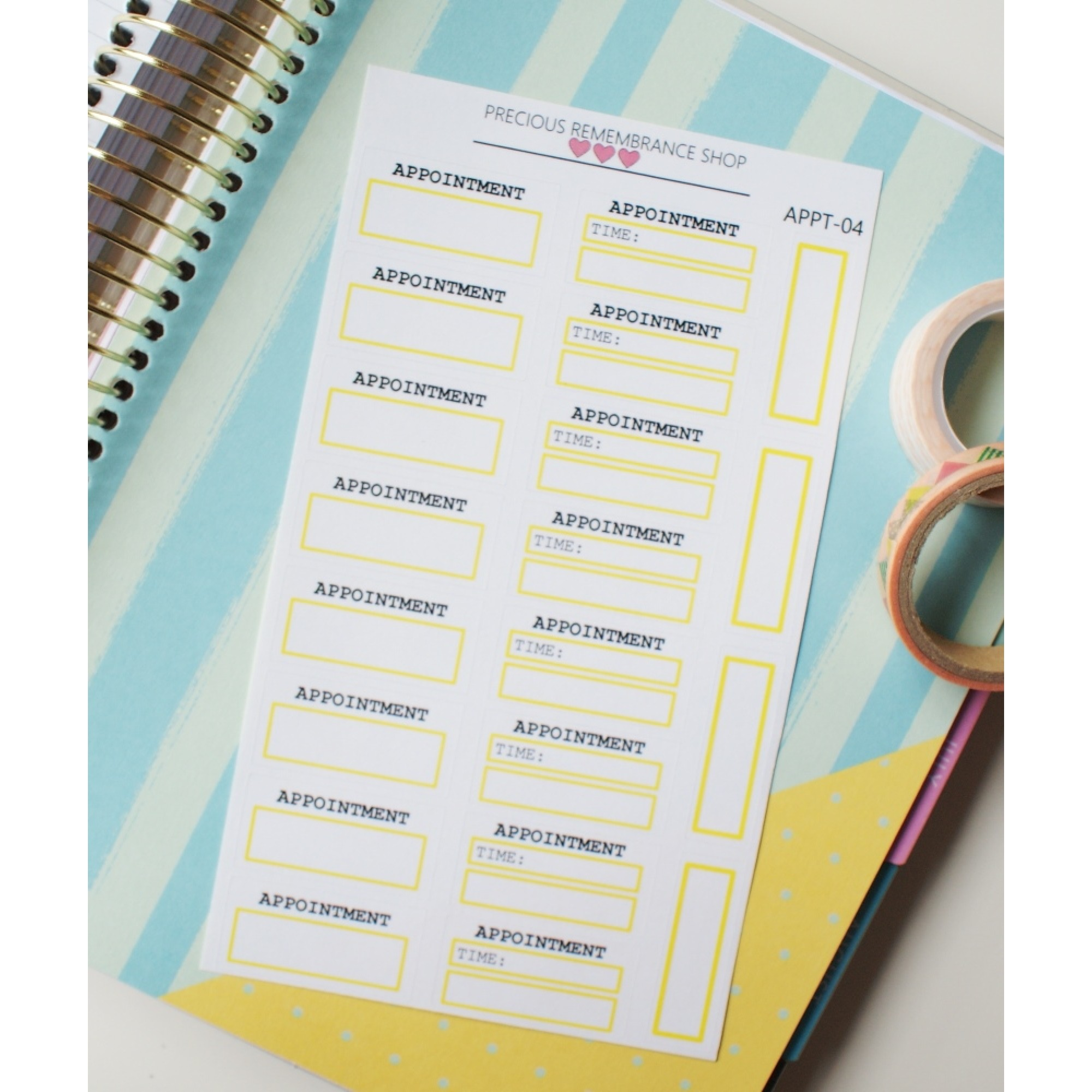 Appointment Stickers - Yellow | Appt-04