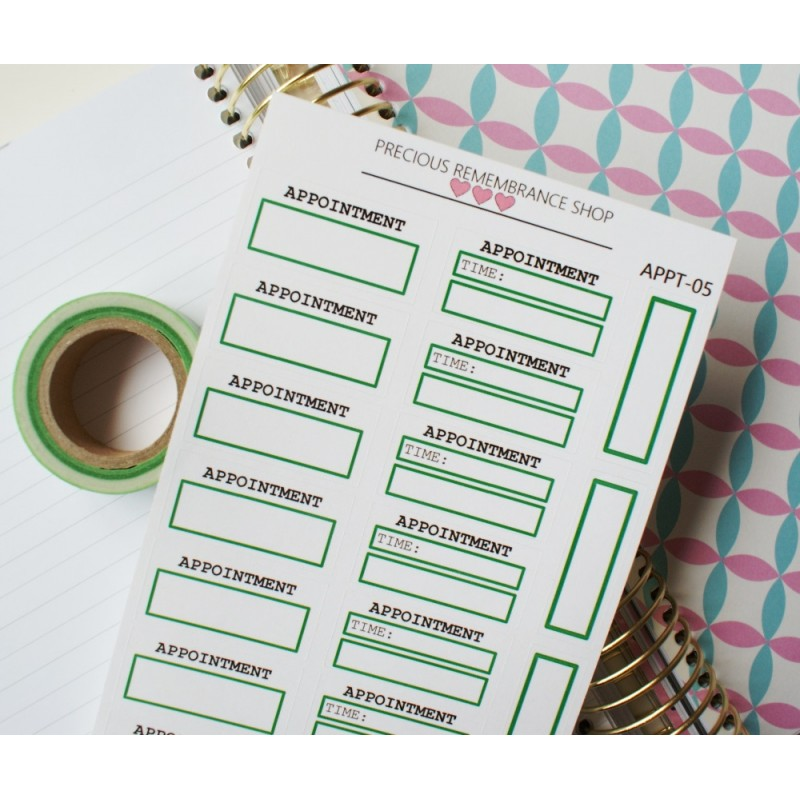 Appointment Stickers - Green | Appt-05