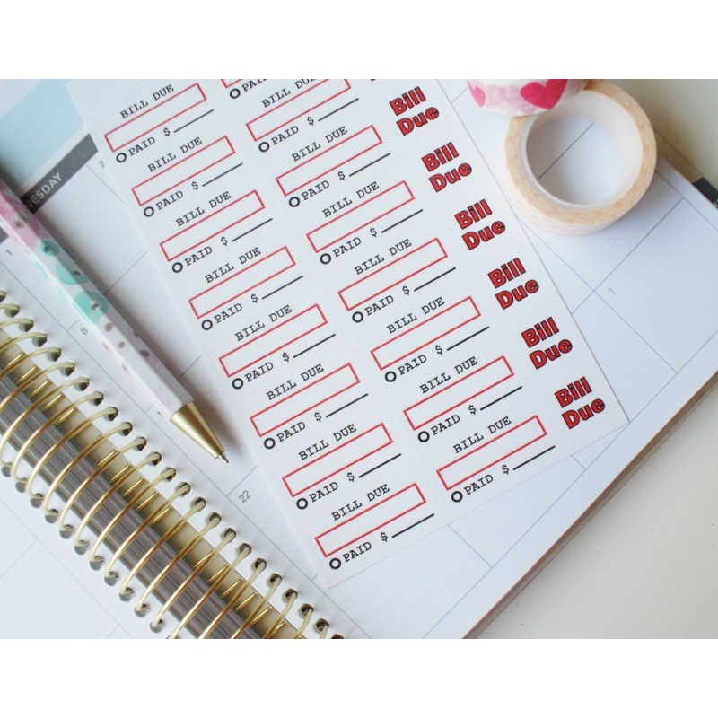 Bill Due Stickers - Red | BD-06