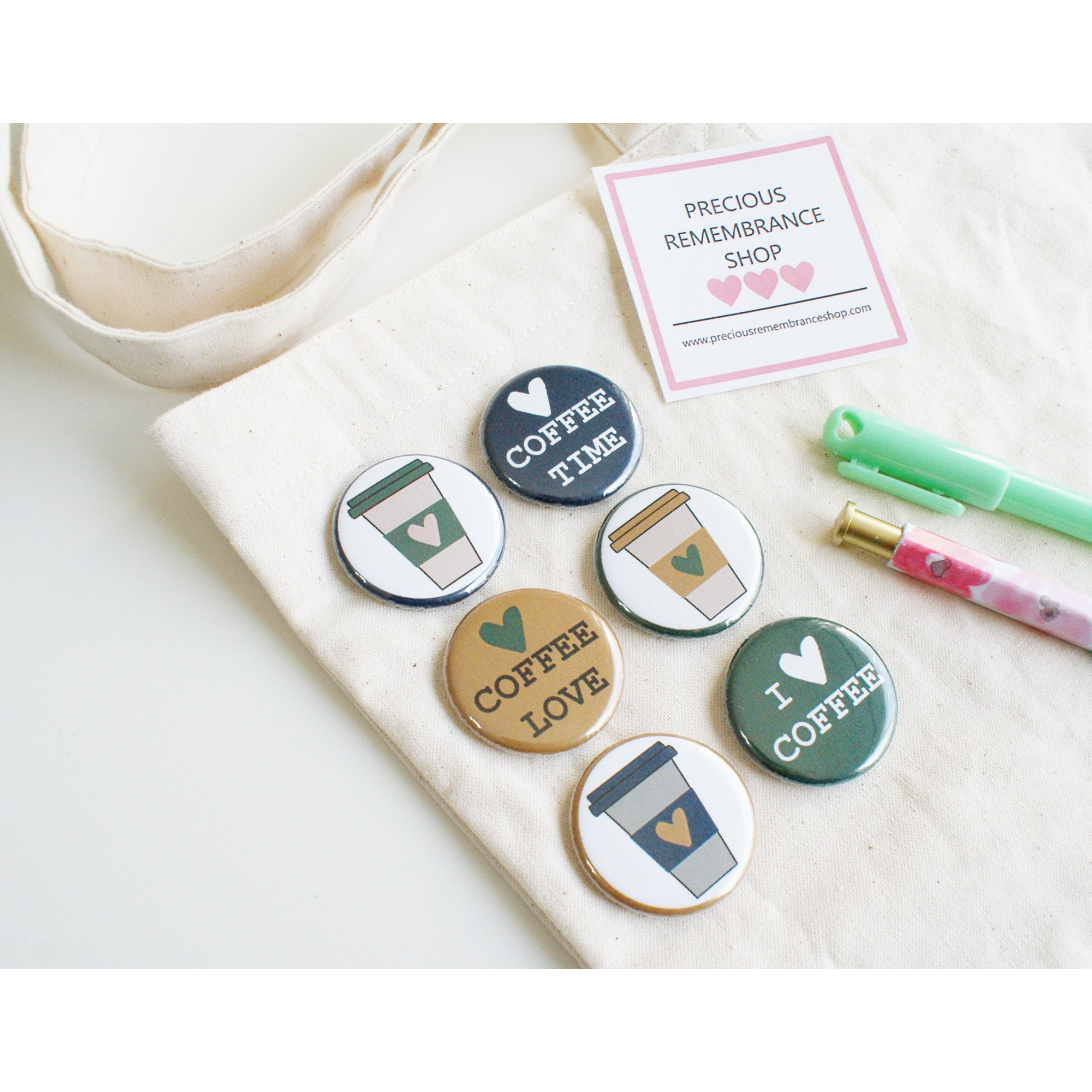 Coffee Love  Flair Buttons