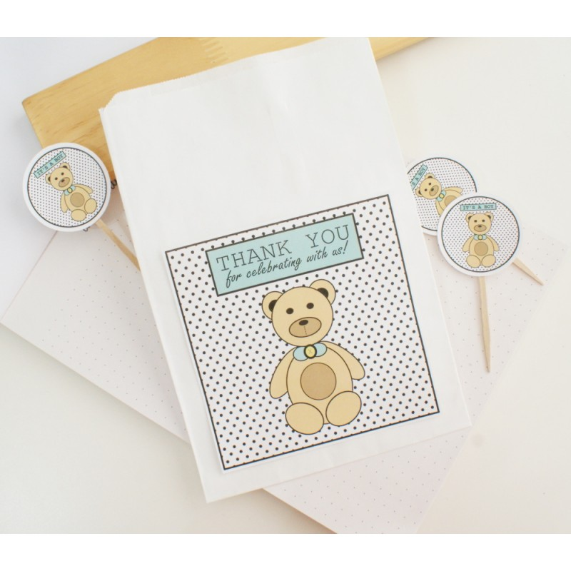 Thank you | White / Flat Paper Bag | Bear - Blue