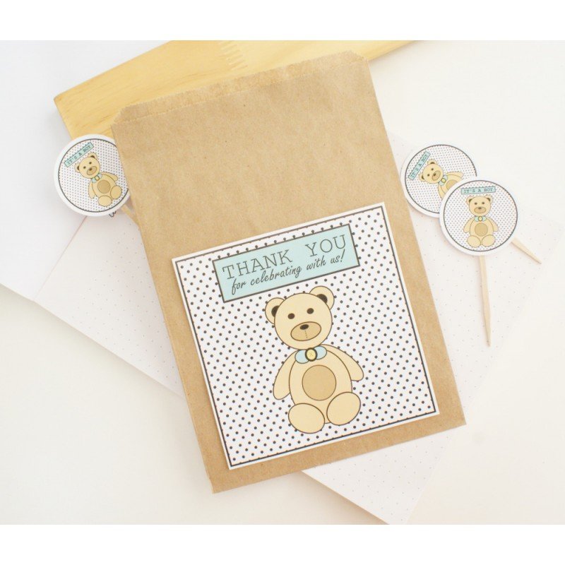 Thank you | Kraft / Flat Paper Bag | Bear - Blue