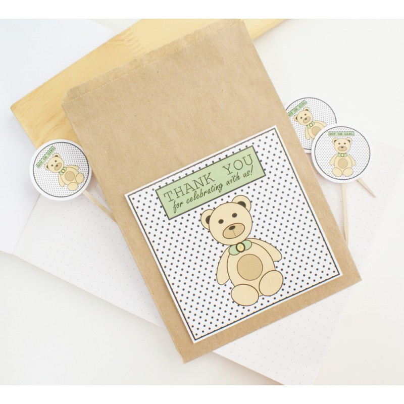 Thank you | Kraft / Flat Paper Bag | Bear - Green