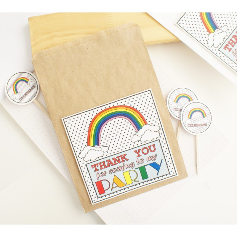 Thank you | Kraft / Flat Paper Bag | Rainbow